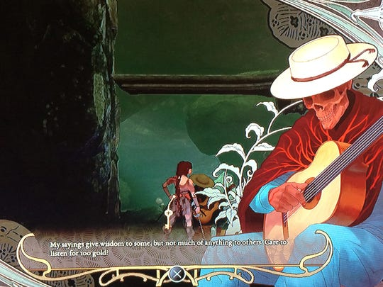 """Stopping to talk to the musician — and pay him for his advice — may result in some rewards. He's one of several friendly characters in """"Abyss Odyssey."""""""