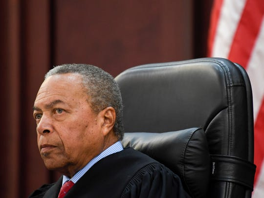Judge Monte Watkins listens to a motion for a new trial for Brandon Banks at the Justice A.A. Birch Building in Nashville, Tenn., Thursday, Feb. 1, 2018.