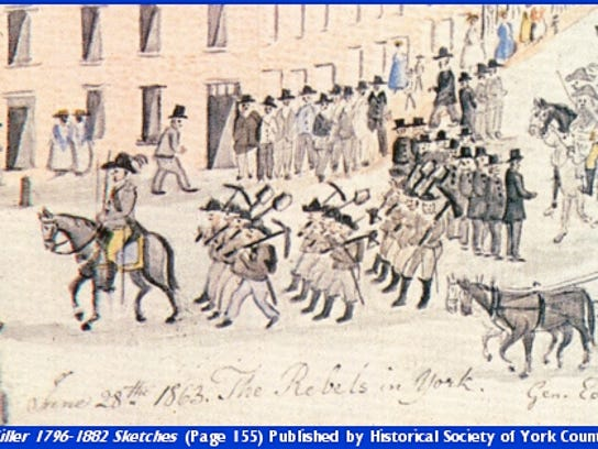 Lewis Miller sketch of the 31st Georgia as it marched into York (YCHC)
