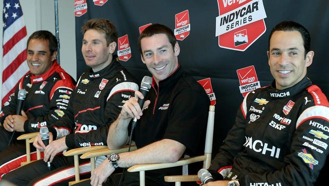 Team Penske at media day (from left to right): Juan Pablo Montoya, Will Power, Simon Pagenuad and Helio Castroneves.