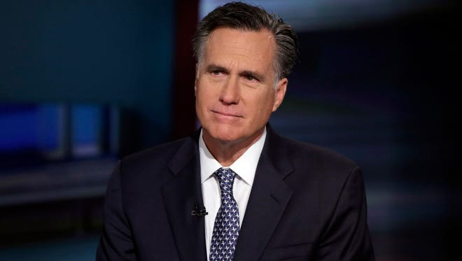Mitt Romney is interviewed by Neil Cavuto on the Fox Business Network in New York on March 4, 2016.