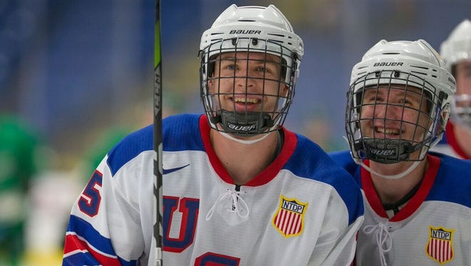 Birmingham's Bode Wilde (left) is one of the players area hockey fans will want to check out this season at USA Hockey Arena in Plymouth.