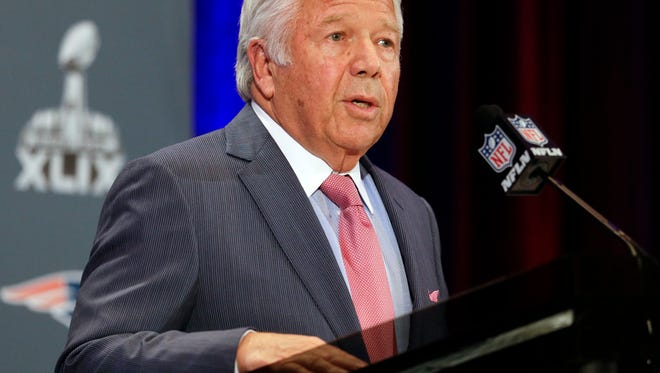 Patriots owner Robert Kraft reads a statement during a news conference Monday in Chandler, Ariz. The Patriots play the Seattle Seahawks in NFL football Super Bowl XLIX Sunday, Feb. 1, in Phoenix.