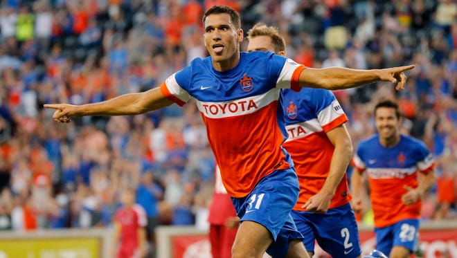 FC Cincinnati's Danni Konig (11) celebrates his goal in the first half of the USL soccer match between FC Cincinnati and the Ottawa Fury at Nippert Stadium in Cincinnati on Wednesday, Aug. 23, 2017. FC Cincinnati secured a 3-1 win over Ottawa before more than 20,000 fans.