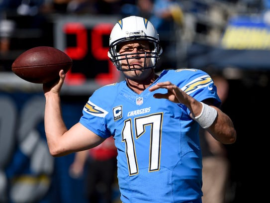 San Diego Chargers quarterback Philip Rivers warms