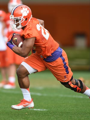 Clemson running back Tavien Feaster (28) during the Tigers opening day of spring practice on Wednesday, March 1, 2017.