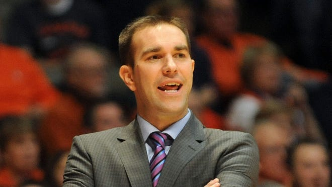 FILE - IPFW coach Tony Jasick watches from the sidelines during the second half of an NCAA college basketball game between IPFW and Illinois at State Farm Center  in Champaign, Ill.