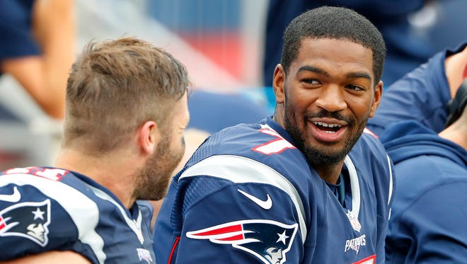 With Jimmy Garoppolo injured and Tom Brady suspended two more games, Jacoby Brissett, right, will take over at quarterback and wide receiver Julian Edelman, left, will be his backup.