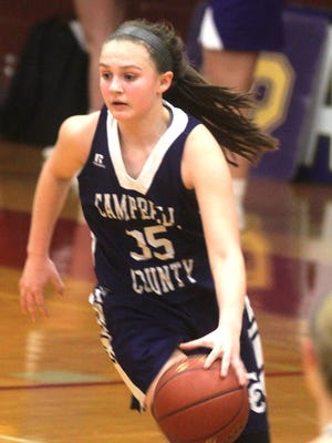 Campbell County guard Mallory Holbrook pushes the ball up the court.
