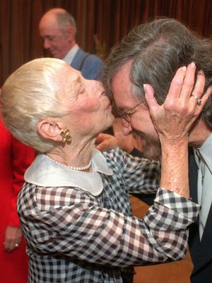 "Leah Adler, left, gives her son, director Steven Spielberg, a kiss on the forehead Friday, May 5, 1995, at the Regent Beverly Wilshire Hotel in Beverly Hills, Calif., where Adler was honored as ""Mother of the Year"" at the Helping Hand Annual Mother's Day Luncheon."