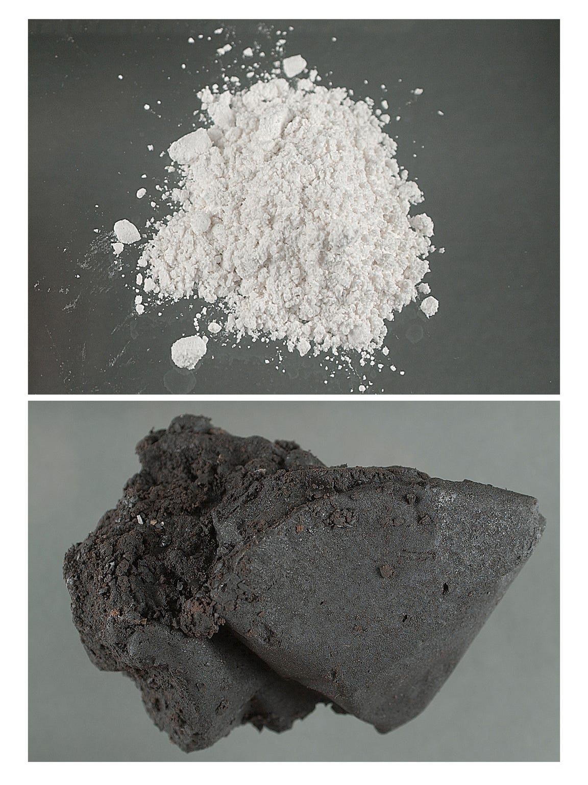 This composite image shows white powder heroin, top, and black tar heroin, bottom. DEA officials say Riverside County has seen a surge of white powder heroin seizures, which is unusual.