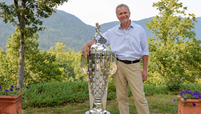 Sculptor Will Behrends often has the Borg-Warner Trophy visit his home/office in Tryon, N.C.