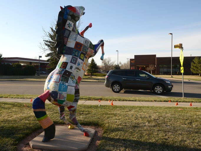 """Blog Pony,"" by artist, J.J. Edwards, was installed in 2011, by the Fort Collins Cenior Center."