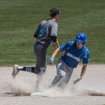 KCC's Trevor Polewka slides into second for a double during first round action at the NJCAA Region XII Baseball Tournament at Bailey Park on Wednesday.