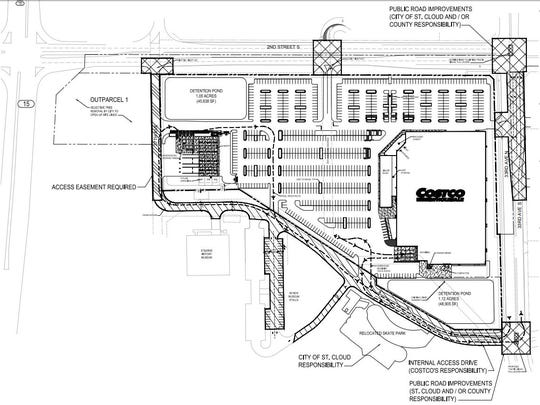 A drawing shows the proposed layout of a Costco store at Second Street South and 33rd Avenue.