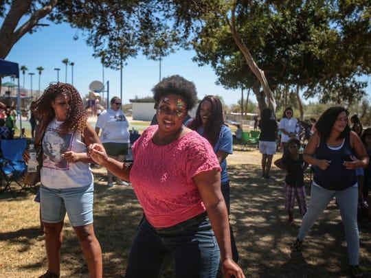 Dancing at the Unity Picnic on Saturday, September 10, 2016 at Wardman Park in Desert Hot Springs.