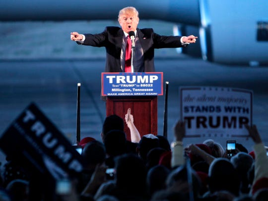 February 27, 2016 - Presidential candidate Donald Trump talks to a huge crowd of supporters at the Millington Regional Jetport during a campaign stop Saturday evening as he ramps up for Super Tuesday. (Jim Weber/The Commercial Appeal)