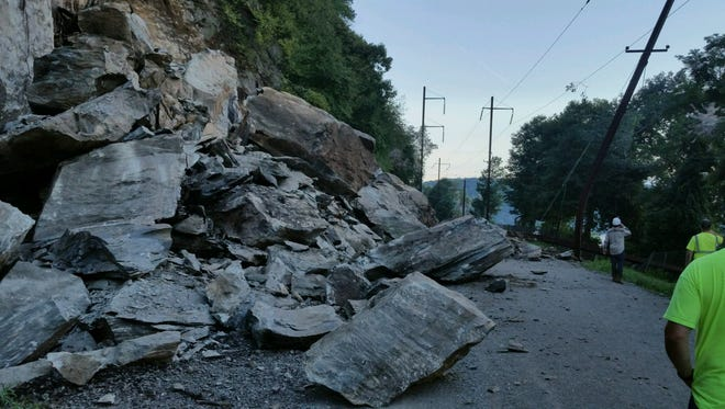 A rock slide has closed a rail trail in western Lancaster County on Wednesday night.