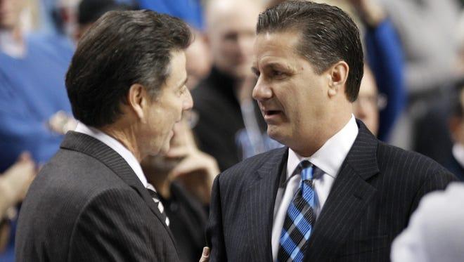Louisville coach Rick Pitino, left, and Kentucky coach John Calipari in January of 2010.