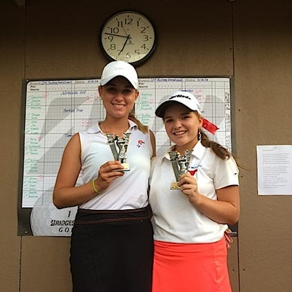 Osecola's Hayden Gibson (Left) took first place with a score of 68 and Northside Christian's Alyssa Lamoureaux (Right) took second with a score of 71 at the Mustang Invitational at Seminole Lake Country Club on Sept. 18.