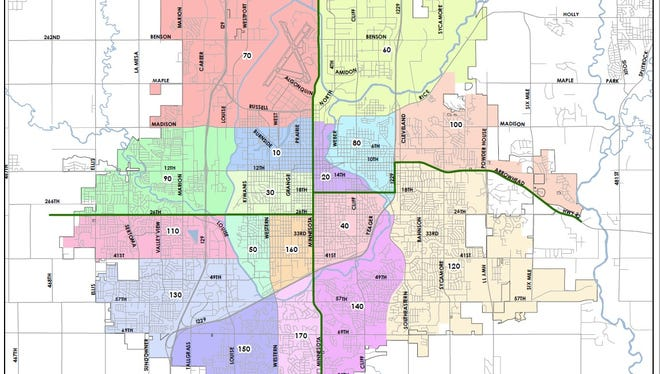 A map of Sioux Falls Police Department Districts. Police can no longer release exact addresses because of the passage of Constitutional Amendment S.