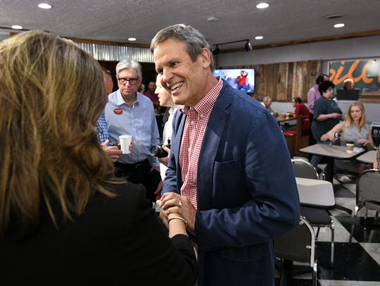 Bill Lee, gubernatorial candidate, greets supporters