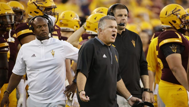 Arizona State head coach Todd Graham reacts after Arizona recovered their punt in the second half on Nov. 25, 2017 during the 91st Annual Territorial Cup in Tempe, Ariz.