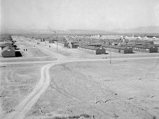 View of the east end of the Topaz Relocation Center in Utah on Oct. 18, 1942. This photo is featured in an exhibit on Japanese internment at the FDR Presidential Library and Museum in Hyde Park.
