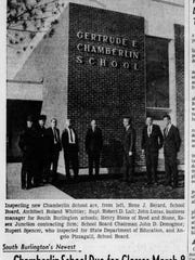A photograph of an article in the Burlington Free Press Feb. 16, 1965 shows the almost completed Chamberlin Elementary School in South Burlington.