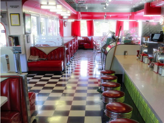 Chase's diner counter seating