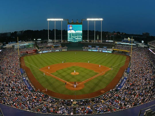 Aug 8, 2017; Kansas City, MO, USA; A general view of the stadium in the fifth inning of the game between the St. Louis Cardinals and the Kansas City Royals at Kauffman Stadium. Mandatory Credit: Jay Biggerstaff-USA TODAY Sports