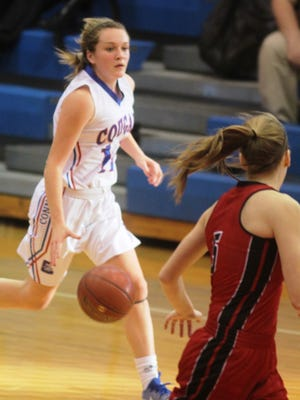 Conner sophomore Courtney Hurst races into the frontcourt. She had 21 points in the first half.
