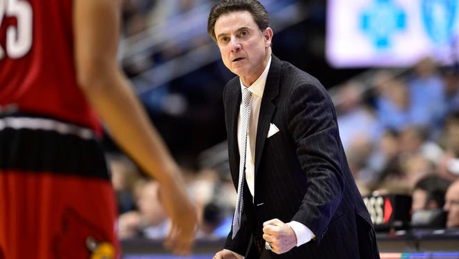 Louisville Cardinals head coach Rick Pitino reacts in the second half. The Tar Heels defeated the Cardinals 72-71 at Dean E. Smith Center.