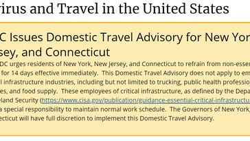 The CDC issued guidance Saturday, March 28, 2020, to urged the tri-state area to not travel for 14 days