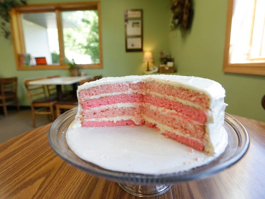 Pink lemonade cake for sale in JJ's Bakery in Marshfield,