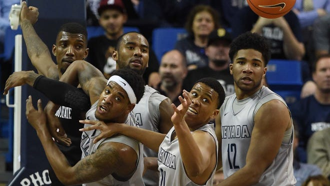 Action photos of the San Diego State at Nevada game at Lawlor Events Center on Jan. 27.