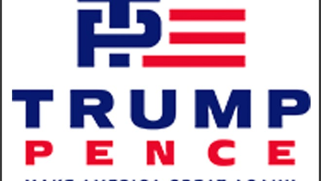 "This image released Friday, July 15, 2016, by the Donald J. Trump for President campaign shows the new campaign logo for presumptive Republican presidential nominee Donald Trump and his running mate Indiana Gov. Mike Pence. It features an interlaced blue ""T"" and ""P"" next to red stripes that evoke the American flag."