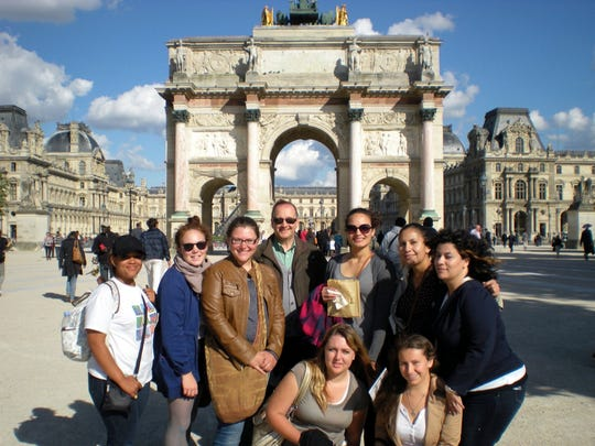 """Glenn Fetzer and his students who went on a FLiP trip to France in May of 2016. Fetzer will be talking about his trip in the upcoming """"Global Connections"""" talk from 5-6:30 p.m. Wednesday, March 8 at the College of Health and Social Services Annex Auditorium, Room 101A."""