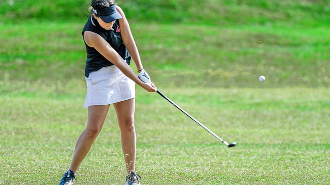 Chillicothe (Mo.) HS golf Lady Hornets senior Hallie Jones sends an iron shot from the fairway toward the hole during Thursday's (Sept. 24, 2020) Chillicothe Invitational Tournament at Green Hills Golf Course. Jones took second in the individual standings with an 18-holes score of 82.