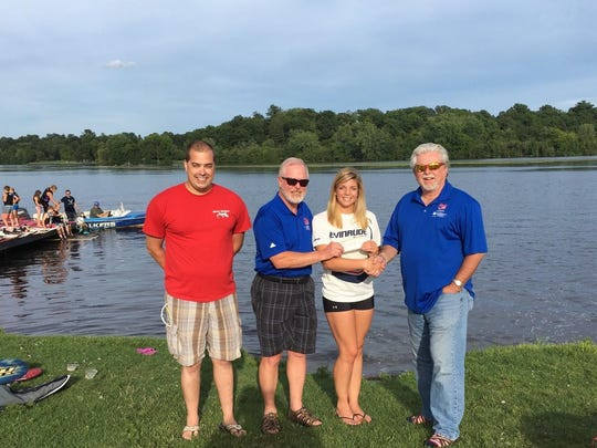 The Central Wisconsin Water Ski Show Team, also known as the Water Walkers, raised $1,510 at their fourth annual Never Forgotten Honor Flight Water Ski Show, held Aug. 7 on Lake Wausau. This money will send three veterans on an upcoming flight to Washington, D.C. to see the memorials built in their honor. Pictured are Aaron Beyersdorff, president of the Water Walkers, from left, Mike Thompson, president of the Never Forgotten Honor Flight, Janelle Gokey, show director of the Water Walkers, and Jim Campbell, vice-president of marketing for the Never Forgotten Honor Flight.