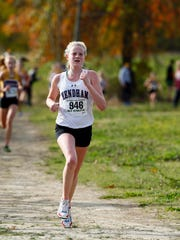 Mendham freshman Ava Curry comes into the finish during