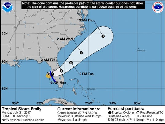 Tropical Storm Emily Downgraded To Depression After Slamming West - Map of west coast of florida