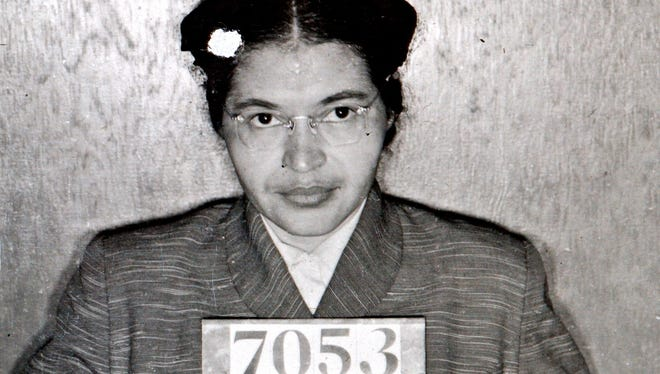 A Montgomery (Ala.) Sheriff's Department booking photo shows Rosa Parks after she was arrested for refusing to give up her seat on a bus for a white passenger on Dec. 1, 1955.