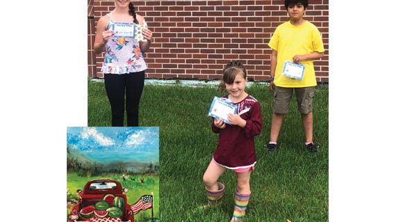 Winners of the first Grandfriends story contest at Divine Providence were, from left: Jaylynn Sellner, Emmaline Braulick and Santiago Martinez. Also pictured is the painting, by Elaine Stueber, that was the inspiration for the Grandfriends story contest.