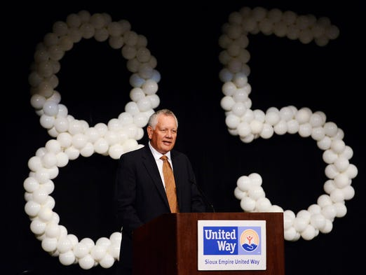Bob Thimjon, board chairman of the Sioux Empire United Way gives the history of the United Way's annual fundraising Friday at the kickoff to the 2015 campaign, Sept 5, 2014.