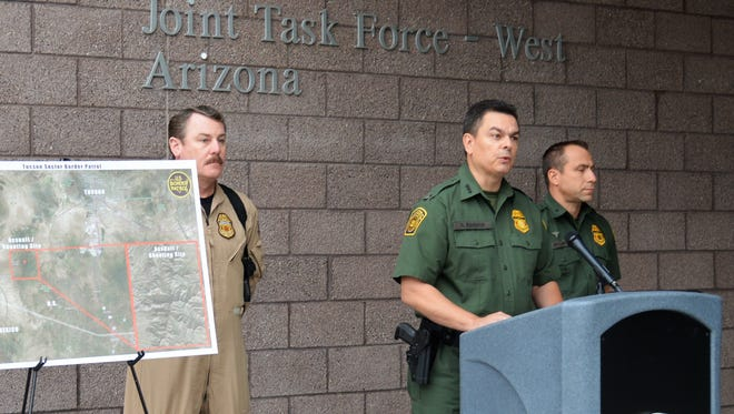 Rodolfo Karisch, chief patrol agent of the Border Patrol's Tucson sector, addresses reporters Nov. 30, 2017, about a fatal shooting that occurred the previous morning near Tucson.