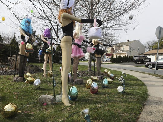 This Monday, April 8, 2019 photo shows an Easter display