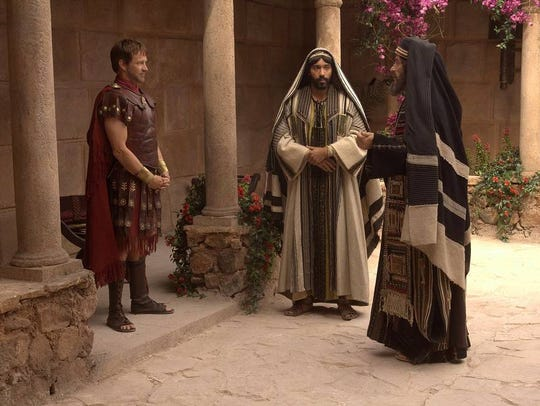 Stephen Moyer as Pontius Pilate, left, and Rufus Sewell