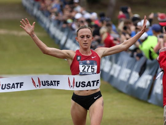 Sioux City native Shelby Houlihan, winning Saturday's