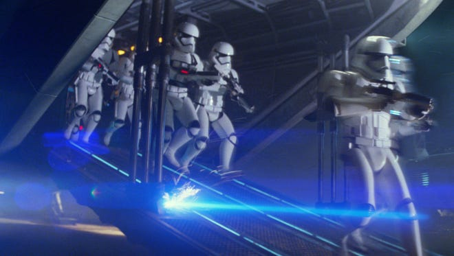 """First Order Troopers in a scene from """"Star Wars: The Force Awakens."""""""